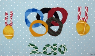 "Fabric Collage Sample on ""winter"" theme -- 4th-6th Grader"