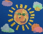 """Fabric Collage Sample on """"summer"""" theme -- 4th-6th Graders"""