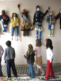 Younger students viewing the final installation at Mercy Montessori